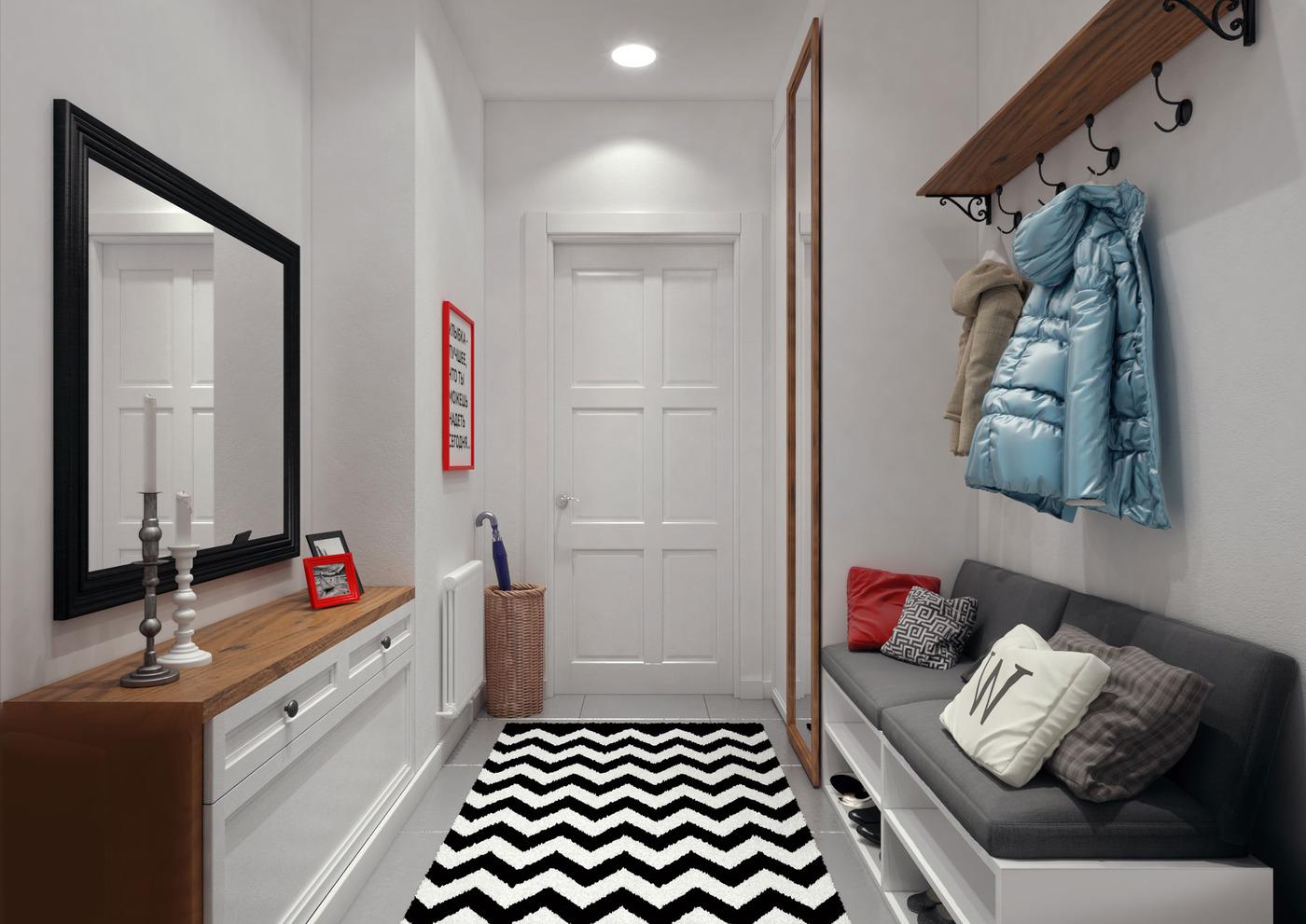 Коричневый, черный и белый цвета в интерьере прихожей