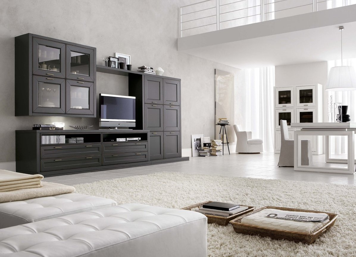Черная стенка в современной гостиной в белых тонах