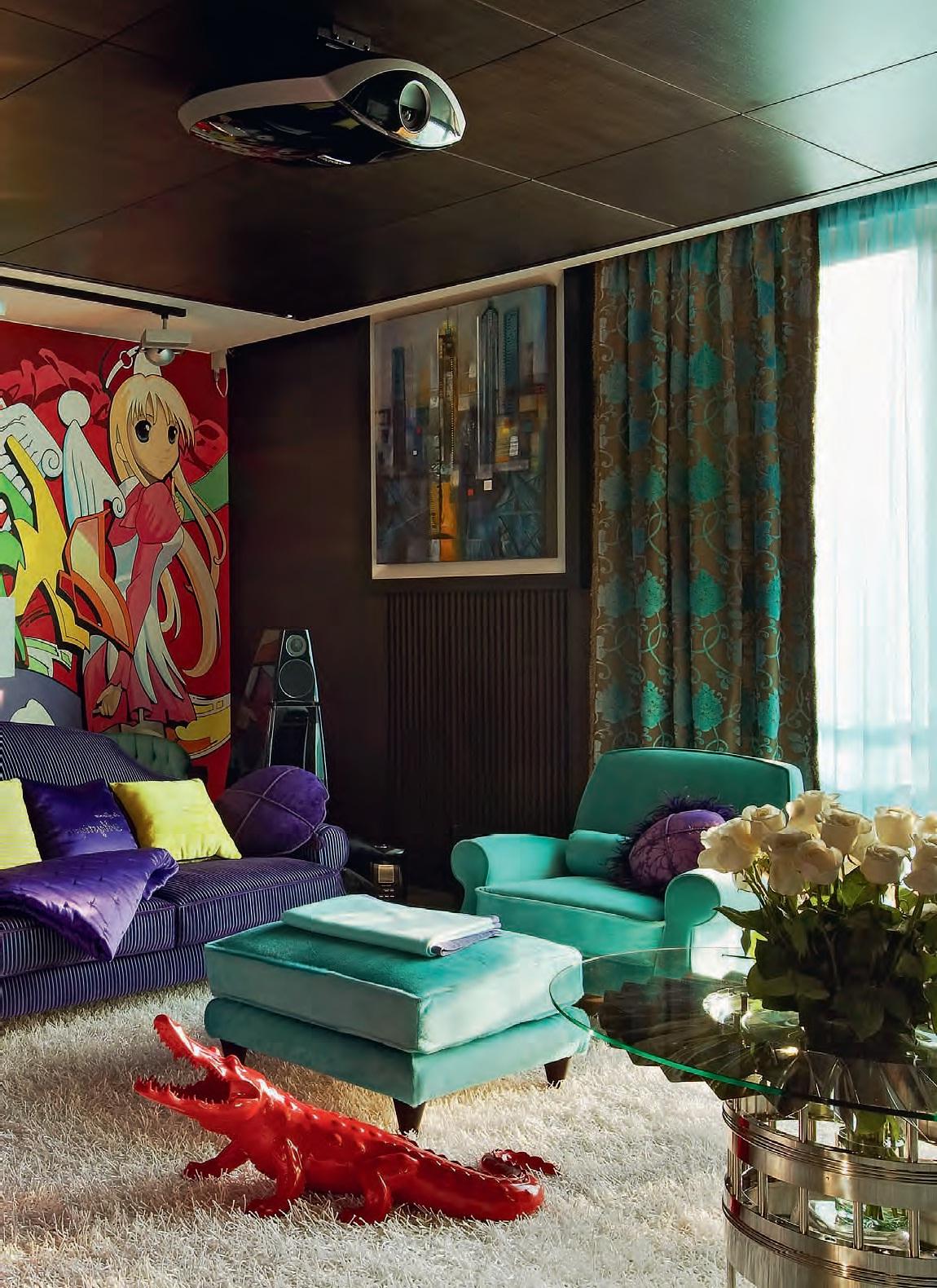 Яркая необычная гостиная в стиле поп-арт
