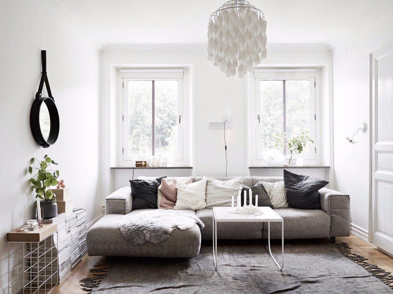Небольшая уютная гостиная в скандинавском стиле