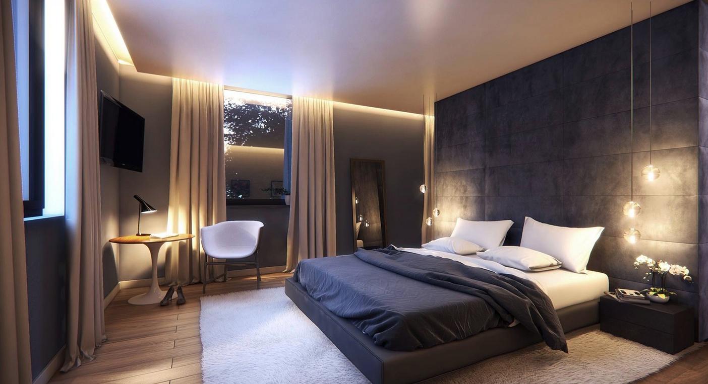 Черно-серые стены в спальне