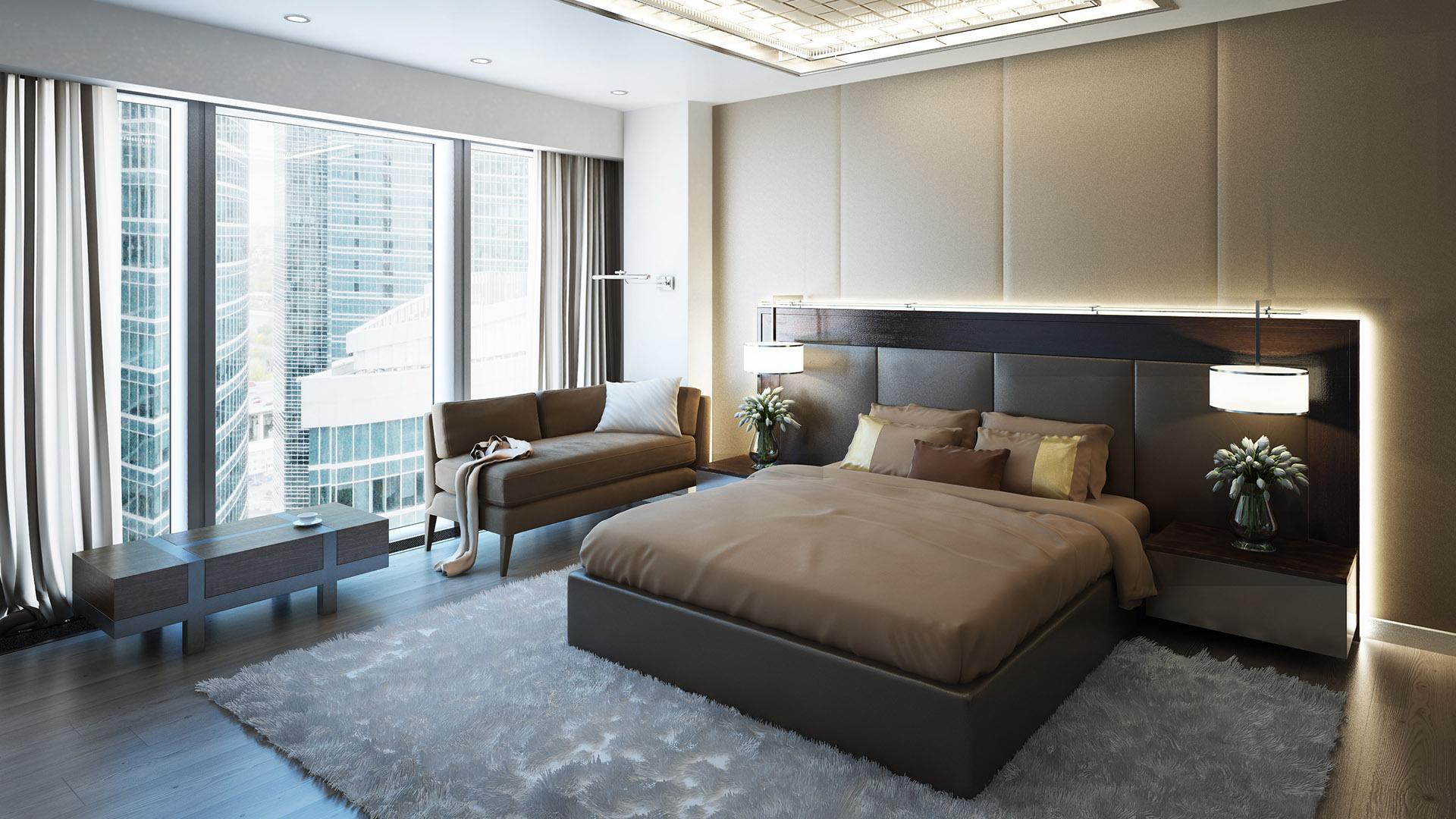Большая спальня в темных тонах в стиле модерн