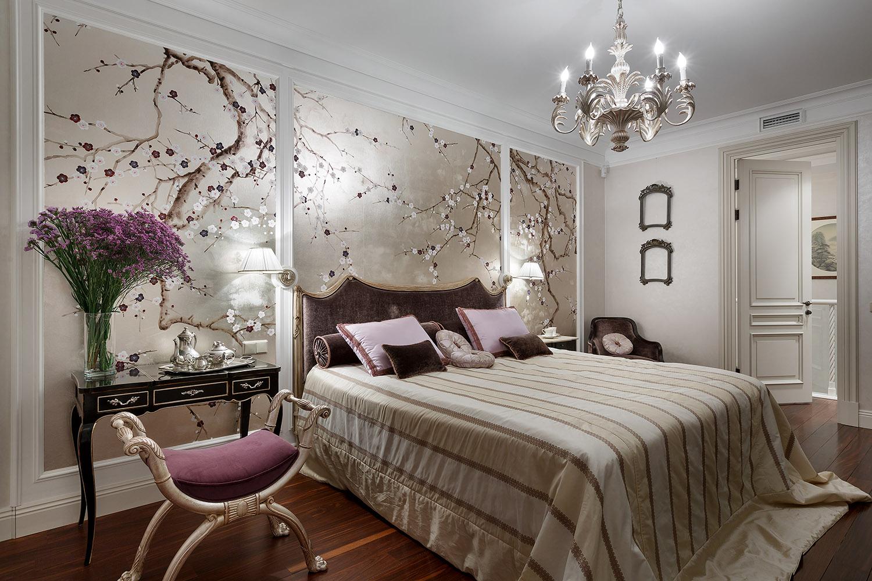Японские мотивы в классической спальне