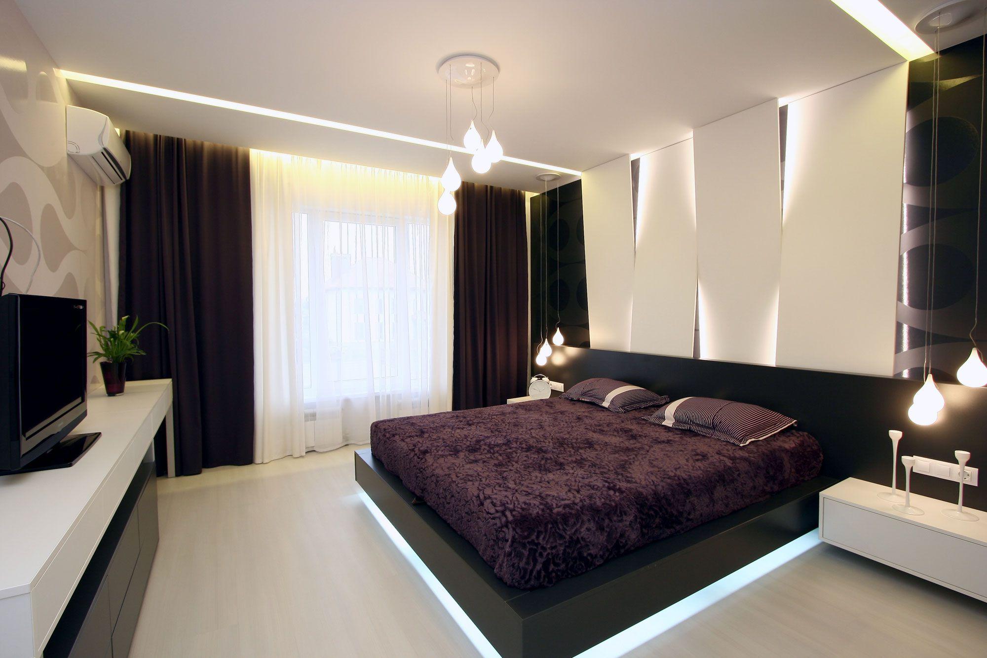 Черно-белые стены в интерьере современной спальни