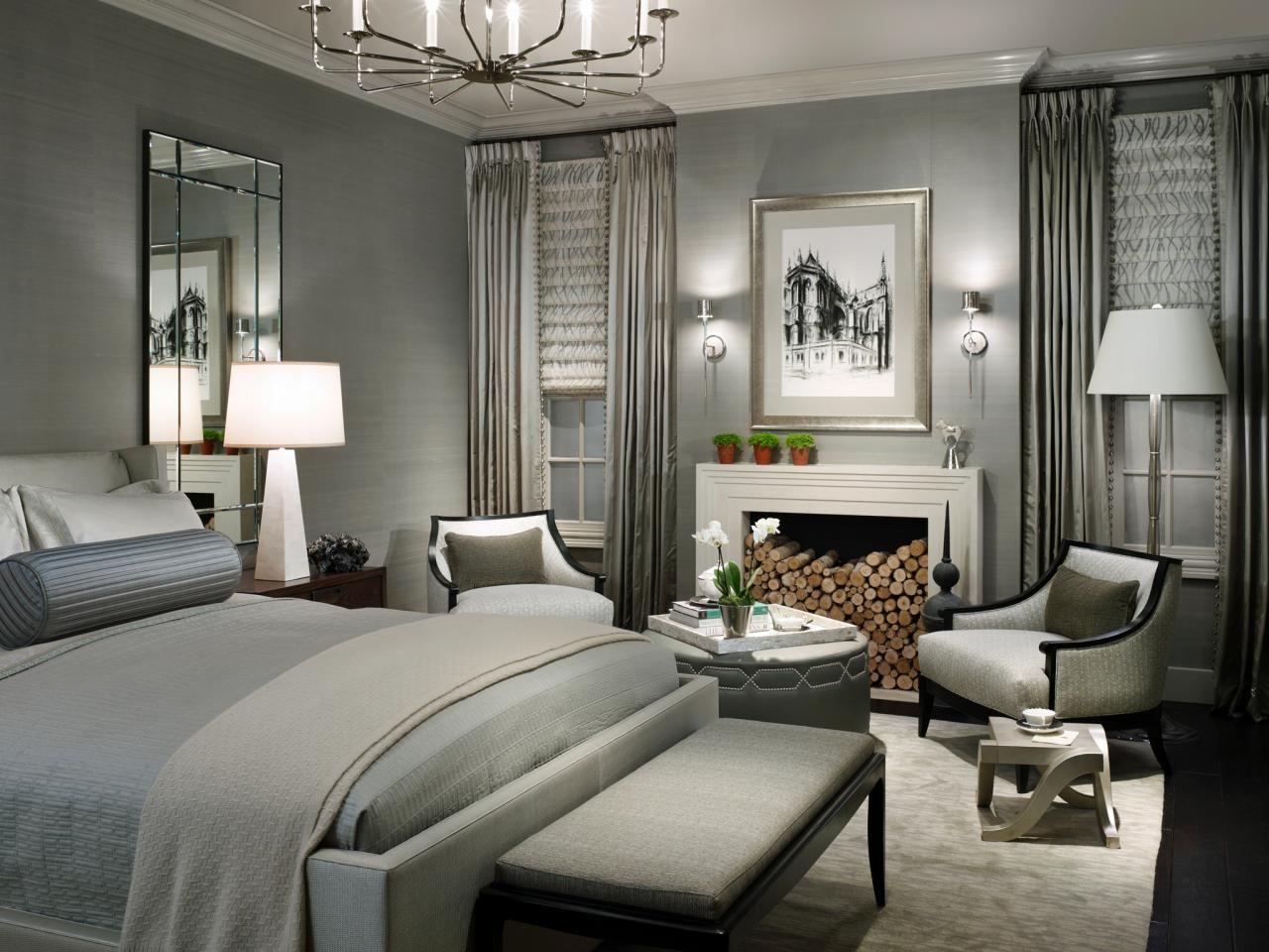 Светлый декор в спальне в серых тонах