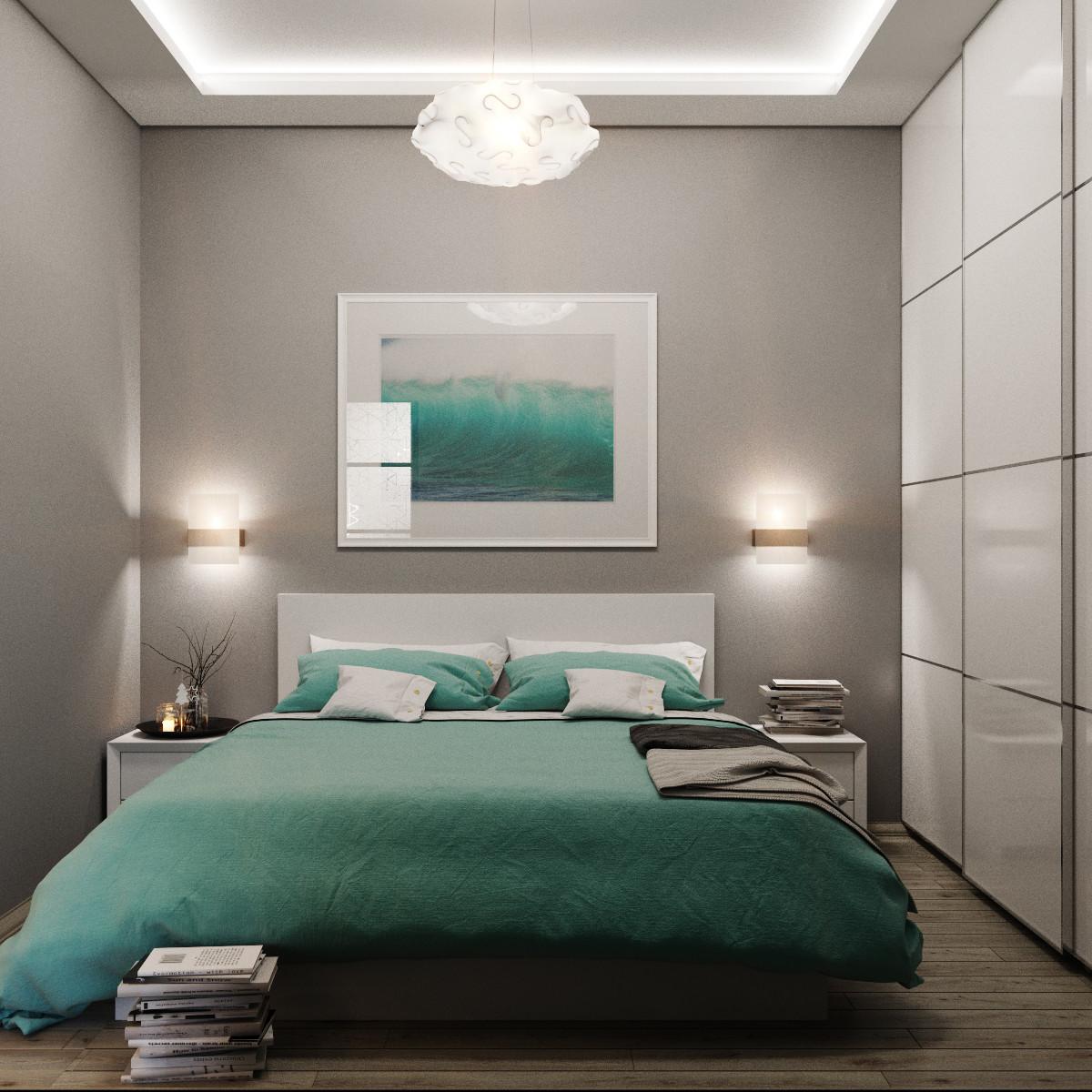 Бирюзовый, серый и белый цвета в небольшой спальне