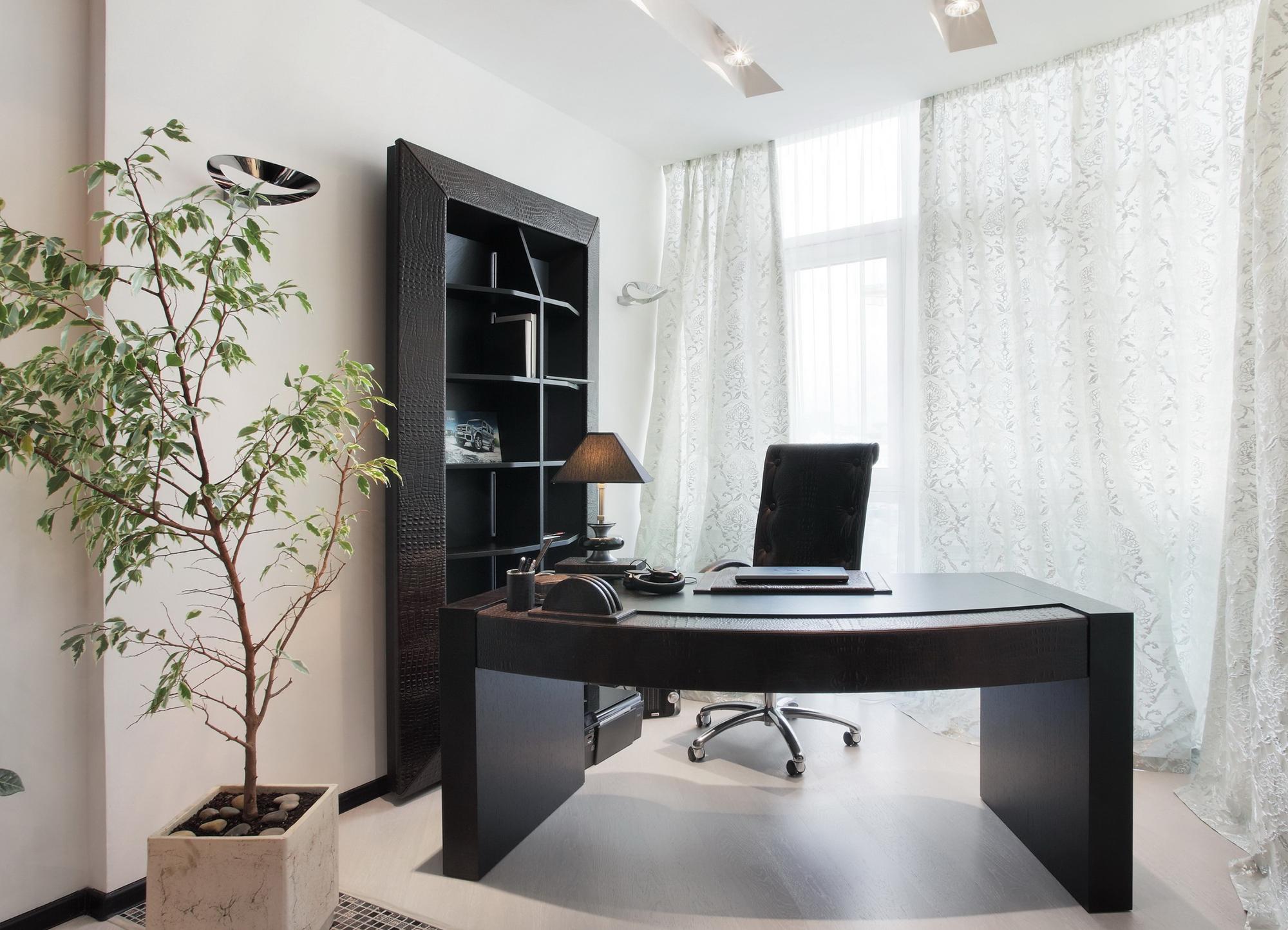 Стильный черно-белый кабинет