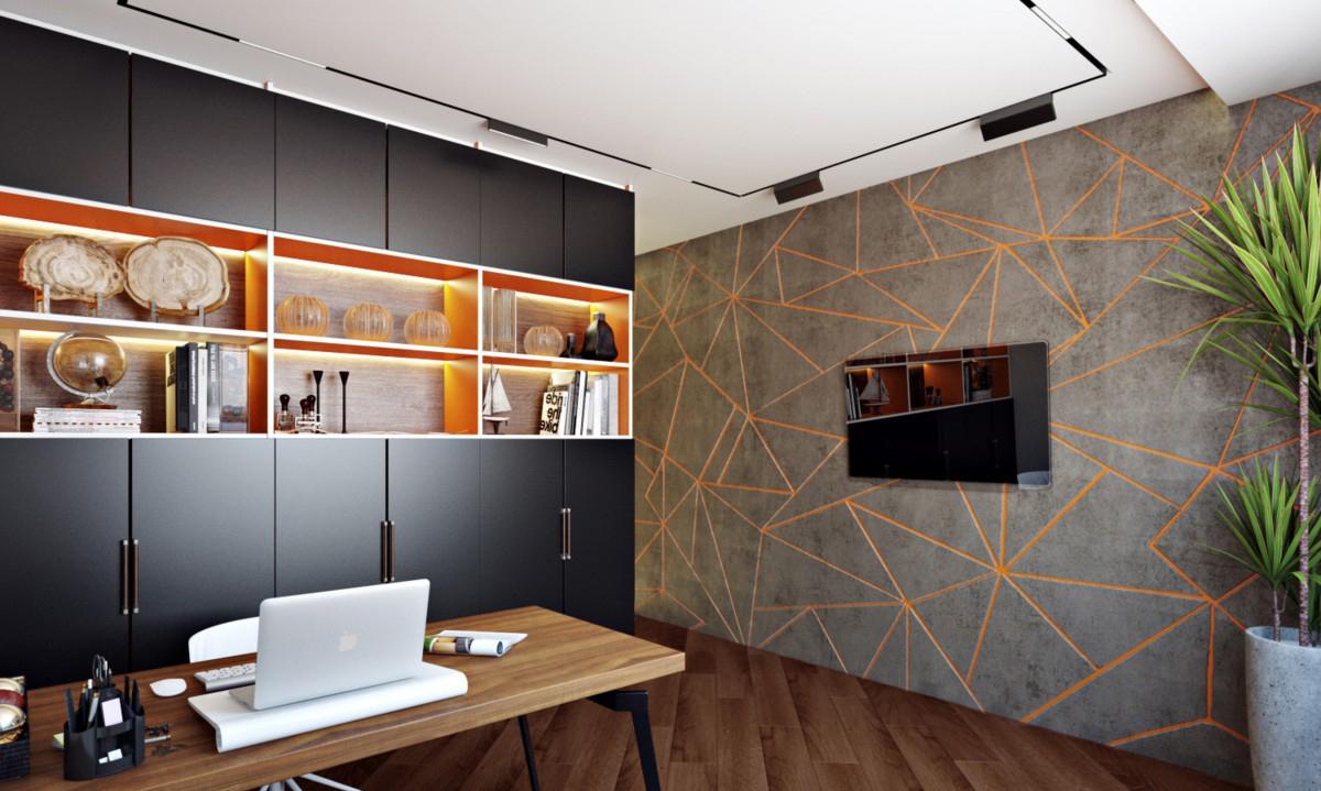Современный кабинет в отдельной комнате в контрастных тонах