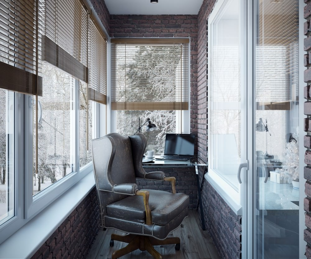 Отдельный кабинет в квартире в американском стиле на балконе