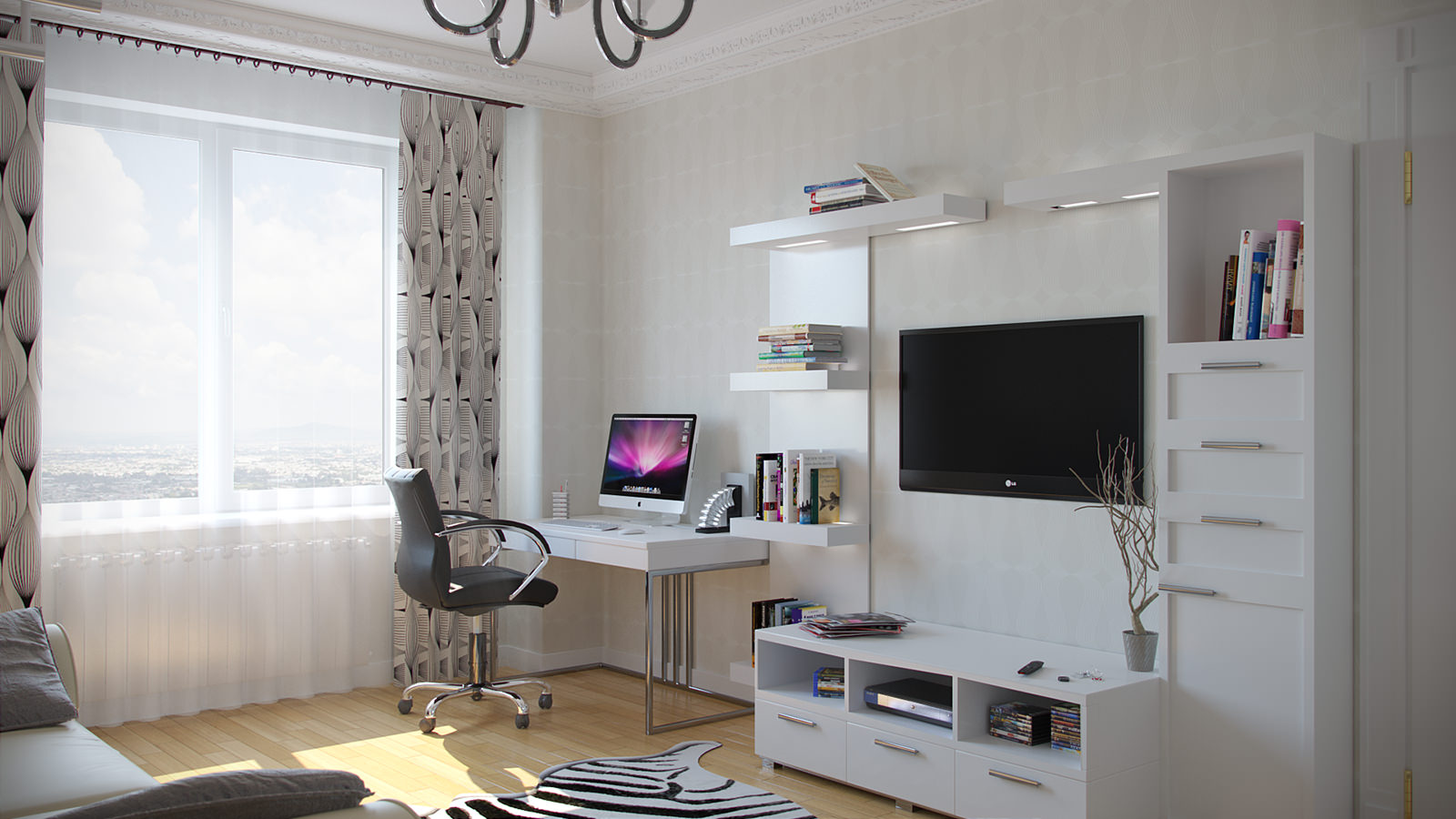 Кабинет в черно-белой гостиной