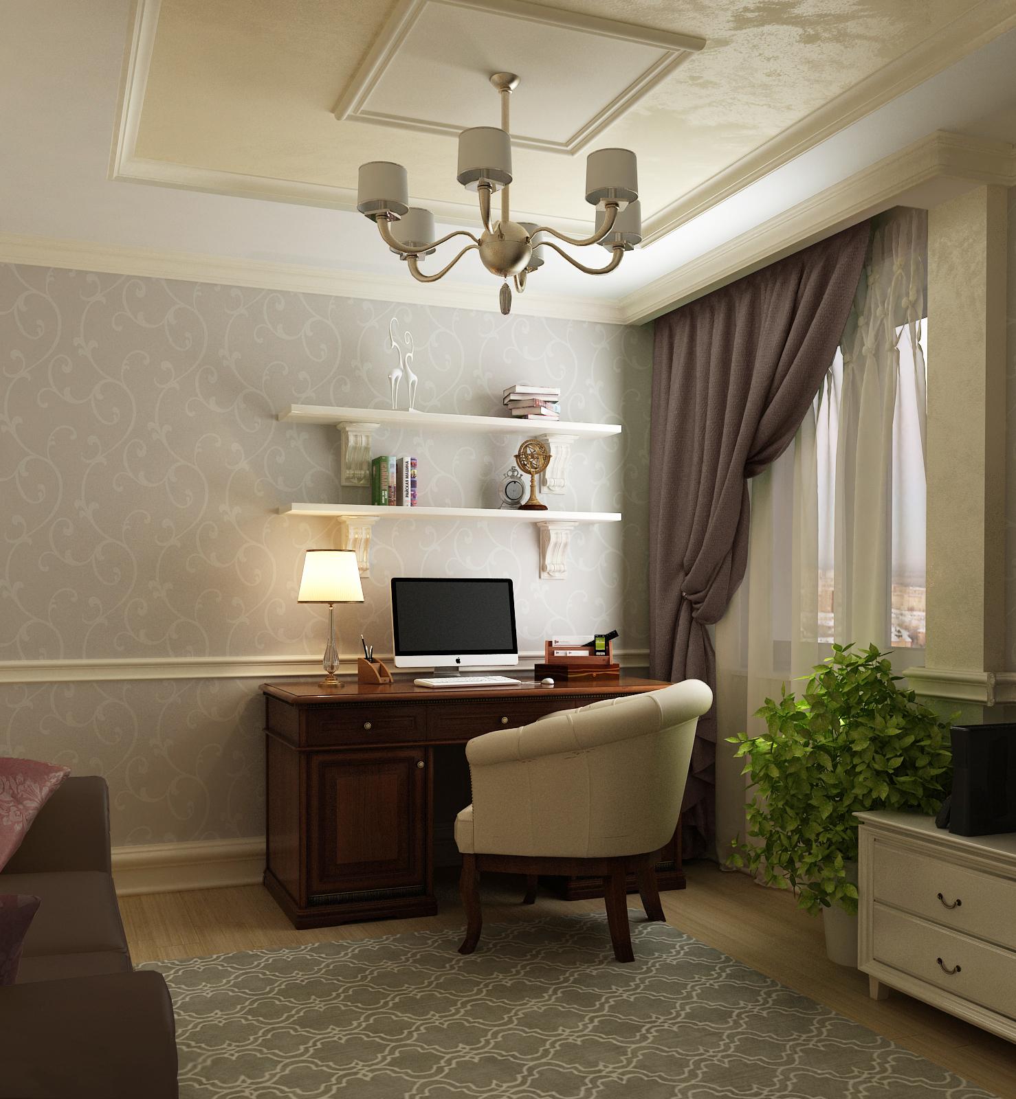 Кабинет в гостиной в классическом стиле