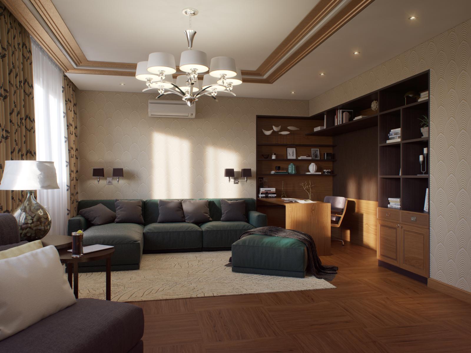 Кабинет в большой уютной гостиной