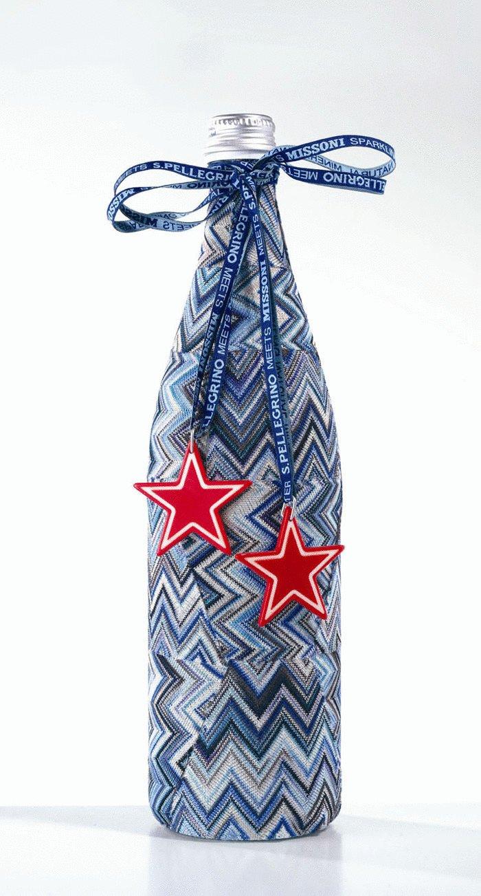 Подарочное тканевое оформление бутылки