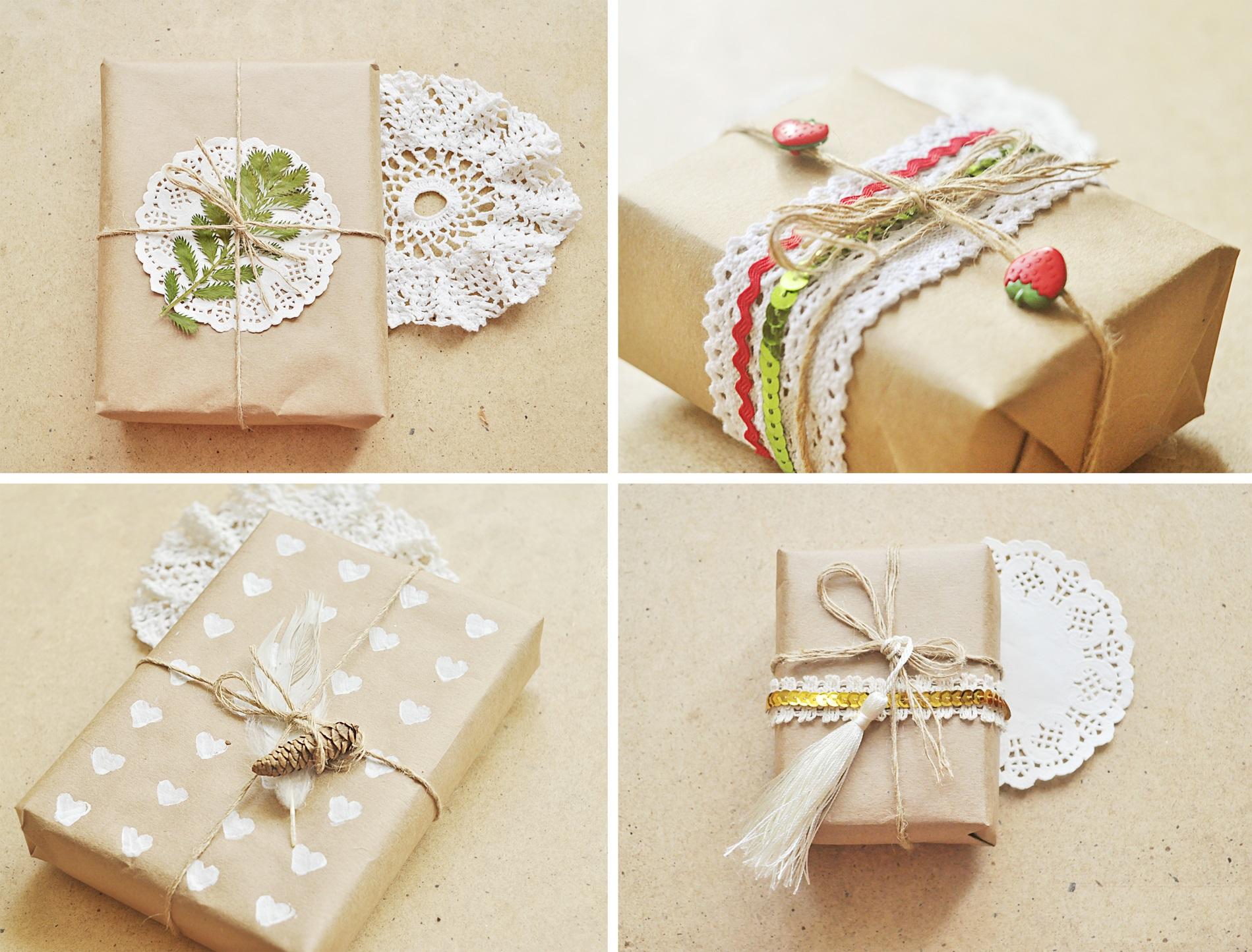 Оформление подарков бумагой и декором