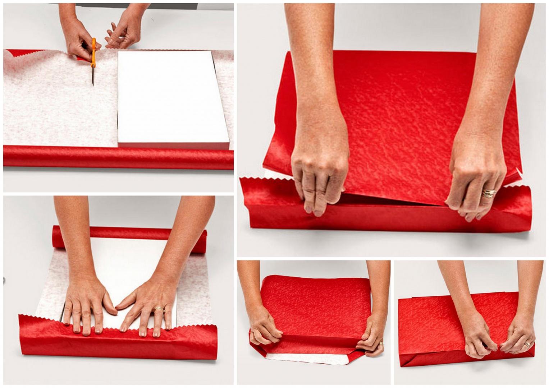Упаковка подарка в красную бумагу