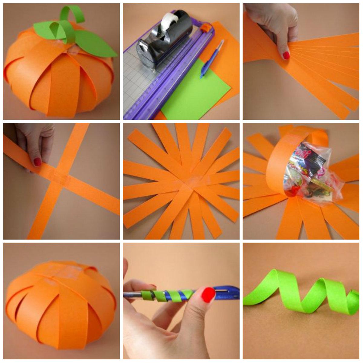 Пошаговая инструкция создания тыквы на Хэллоуин с помощью бумаги