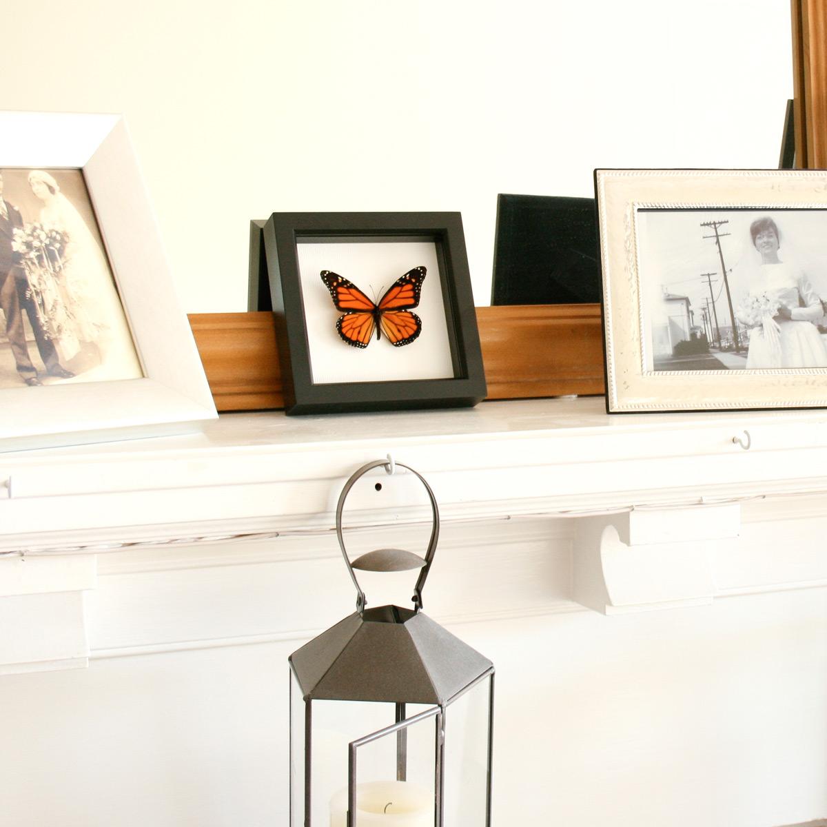 Декоративная бабочка на камине