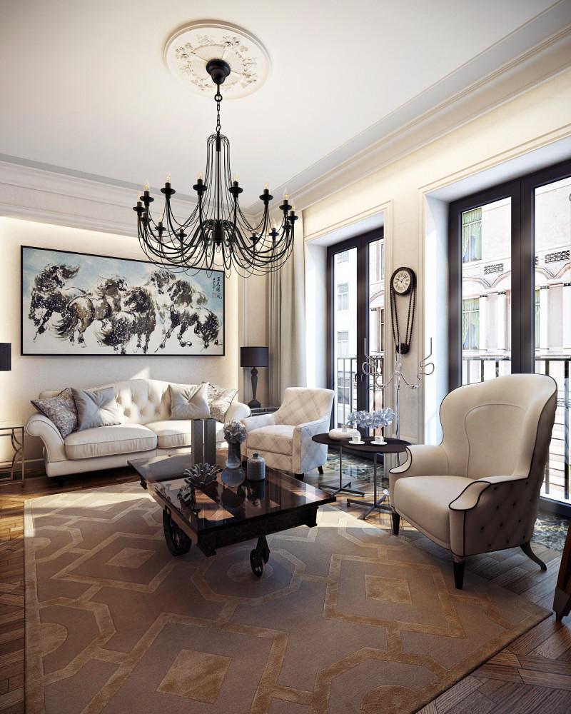 Черная кованая люстра в гостиной в стиле неоклассика