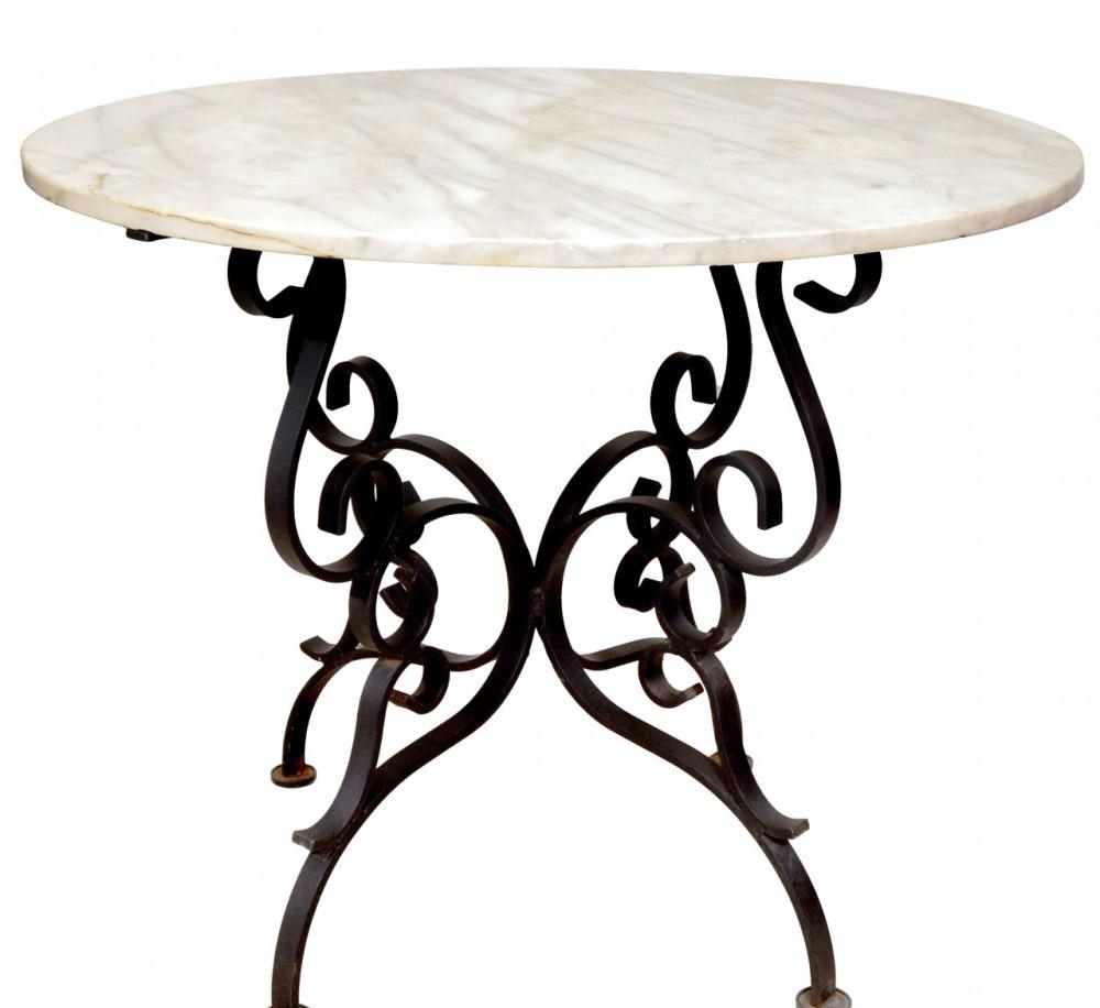 Круглый кованый стол с каменной столешницей