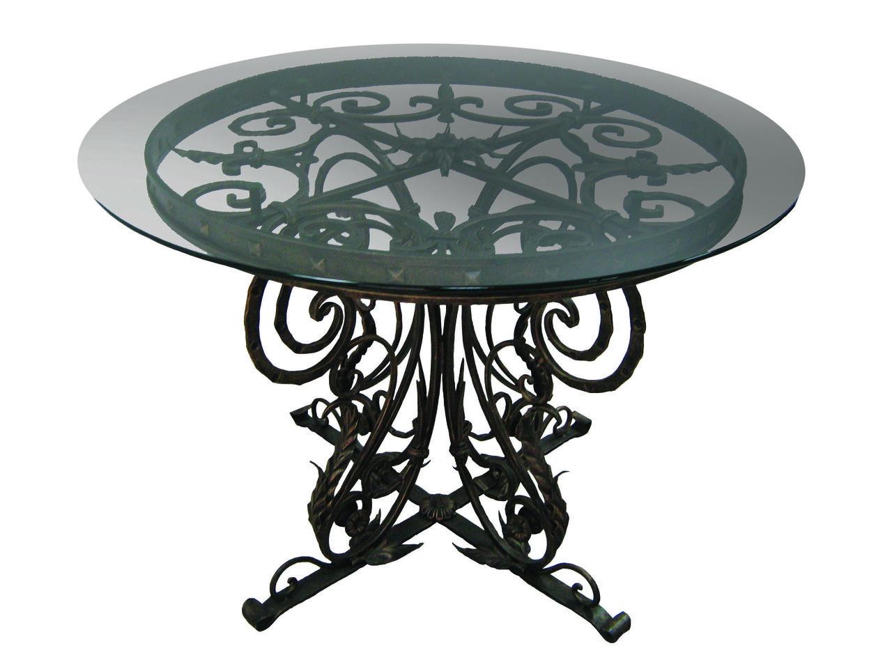 Роскошный кованый стол со стеклянной столешницей