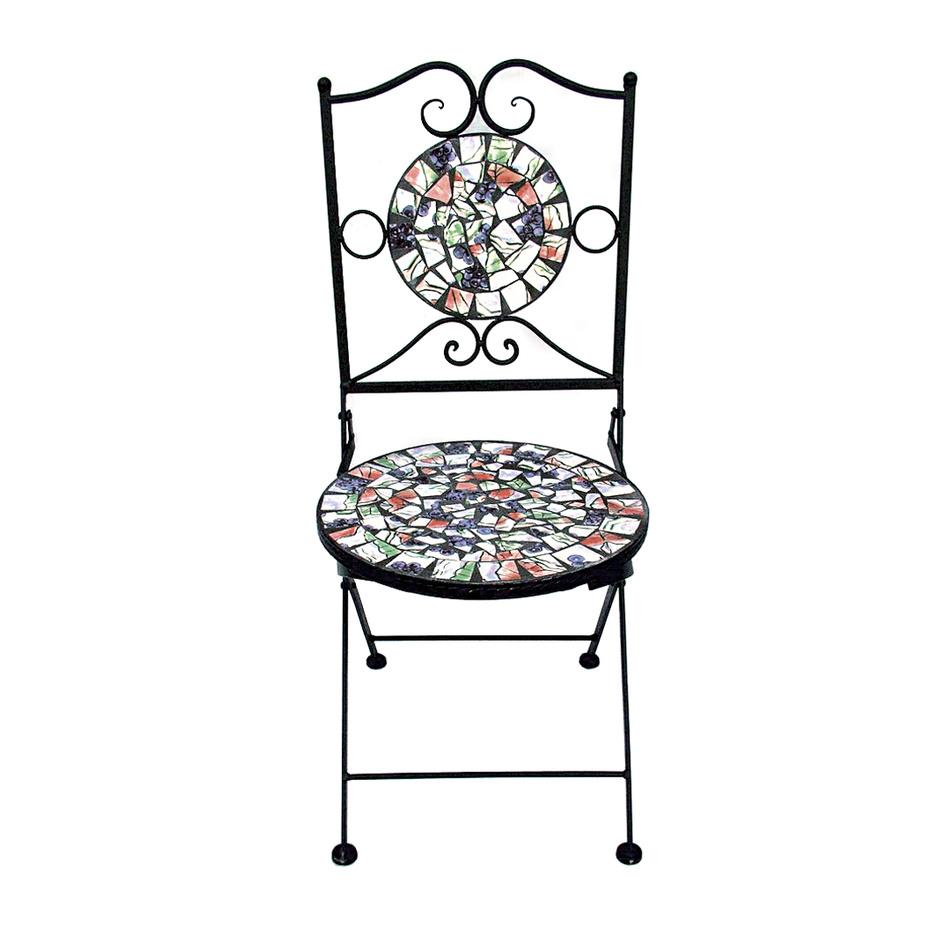 Красивый кованый стул с мозаикой