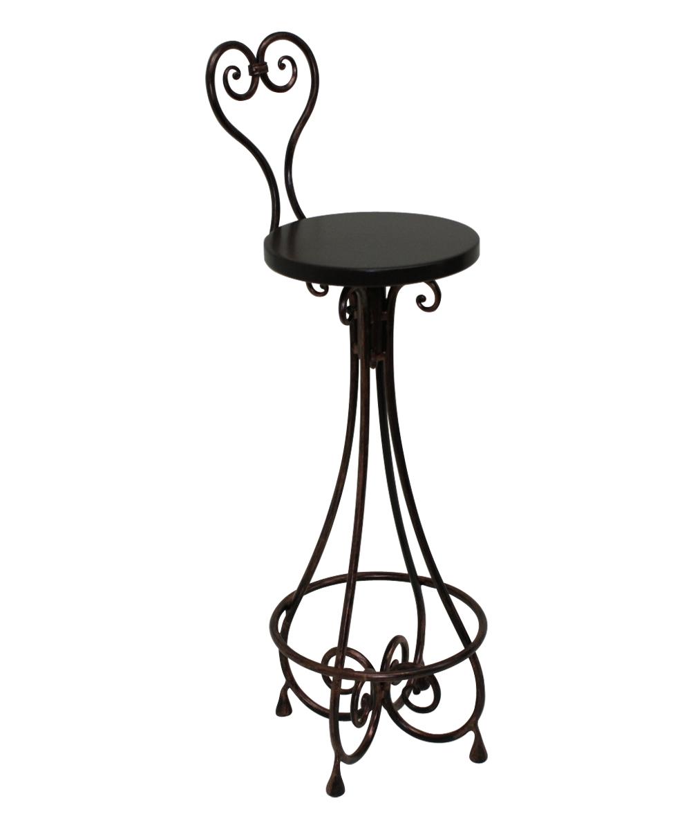 Черный высокий кованый барный стул