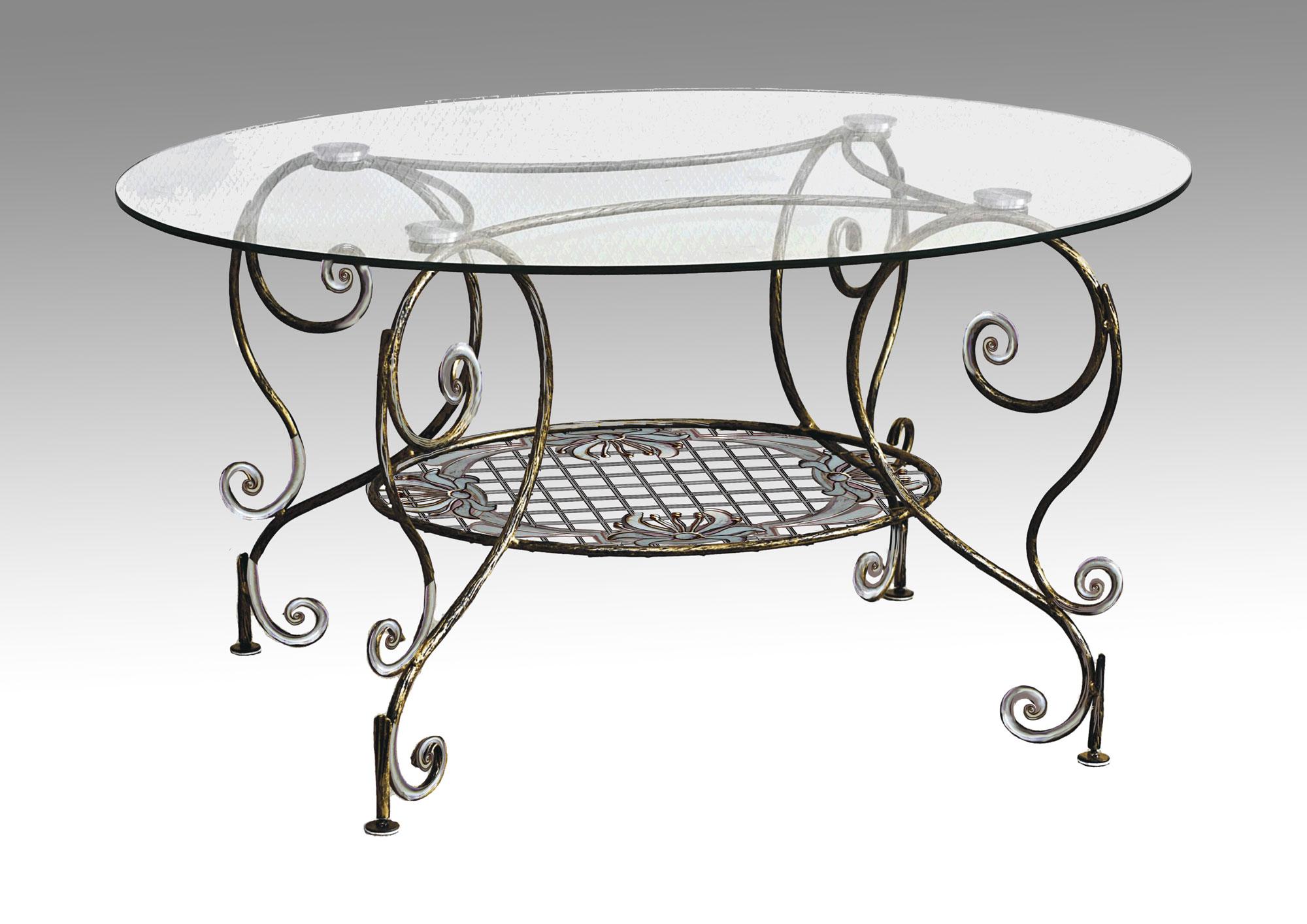 Кованый стол с овальной стеклянной столешницей