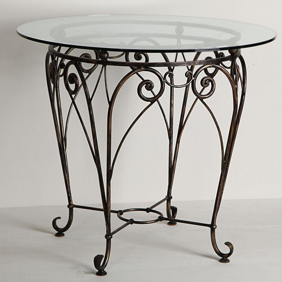 Круглый кованый стол со стеклянной столешницей