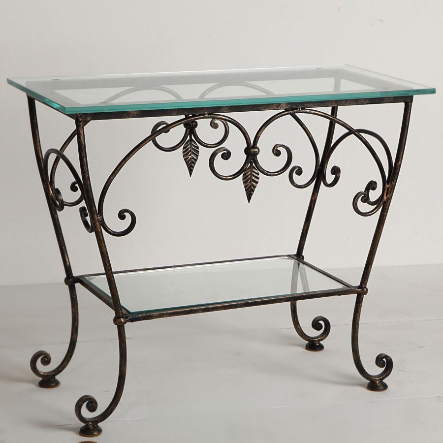 Прямоугольный кованый стол со стеклянной столешницей