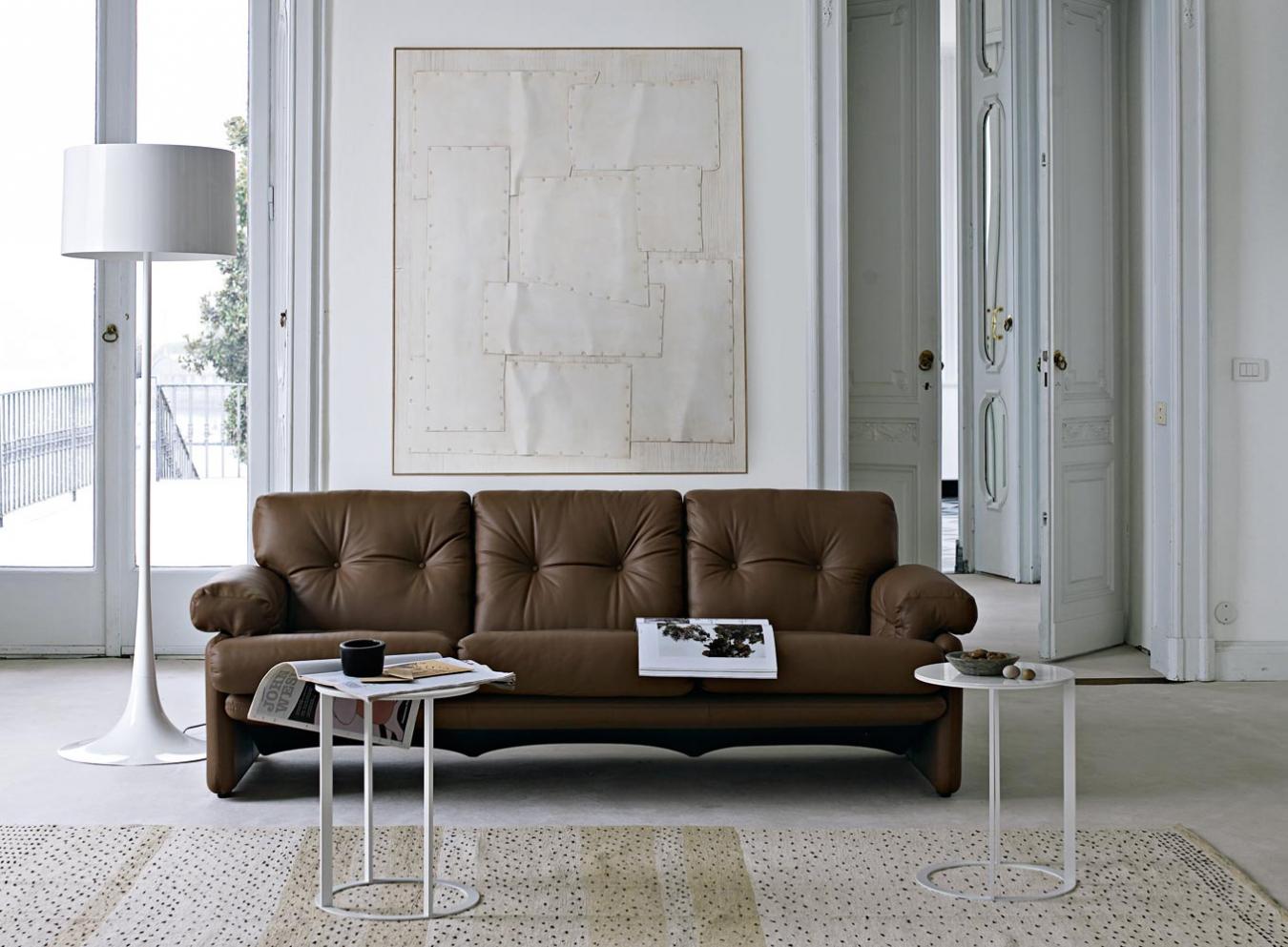 Коричевый кожаный диван в светлом интерьере