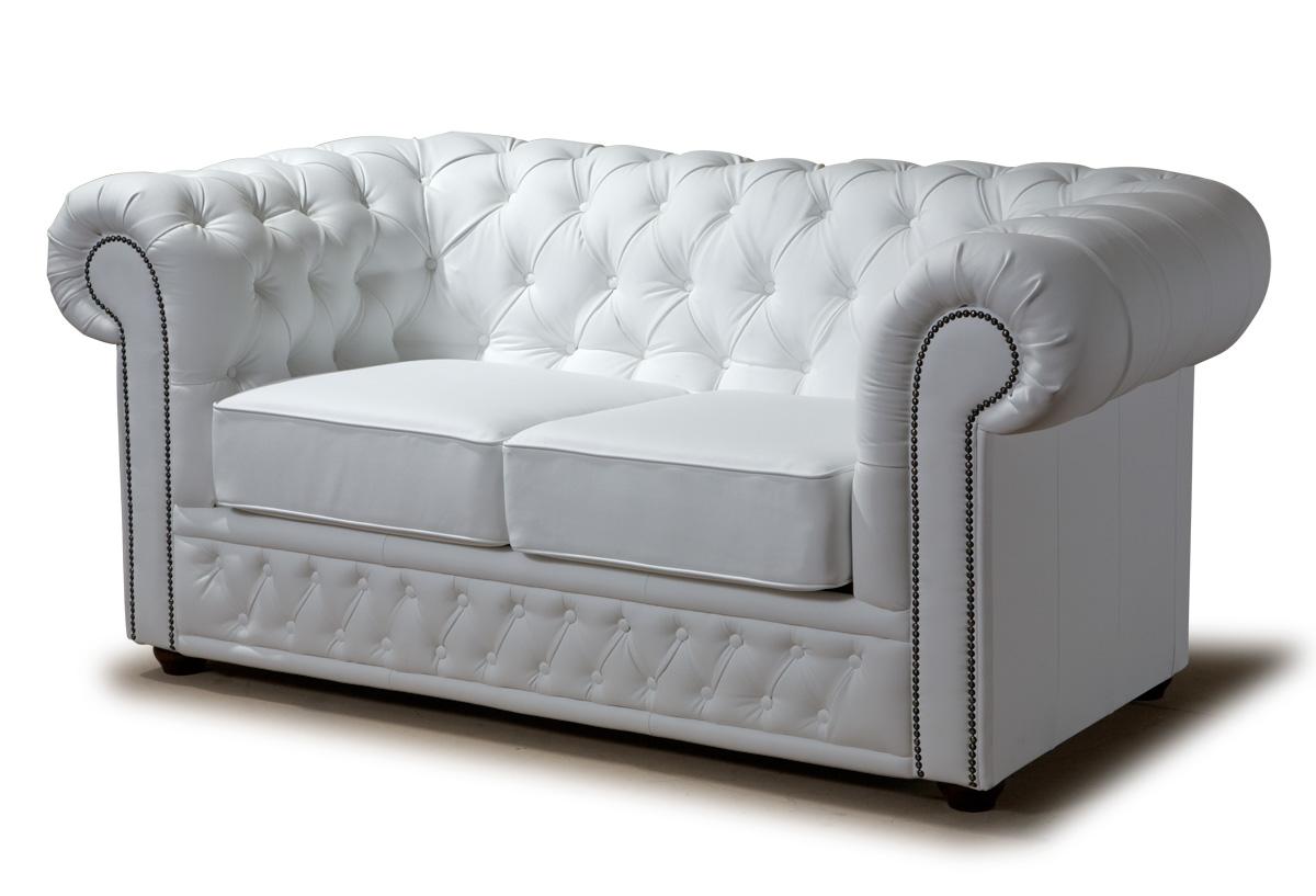 Стильный белый кожаный диван