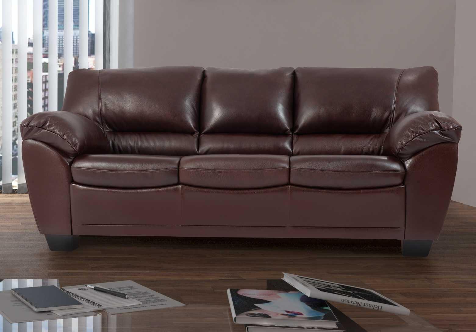 Темно-коричневый трехместный кожаный диван