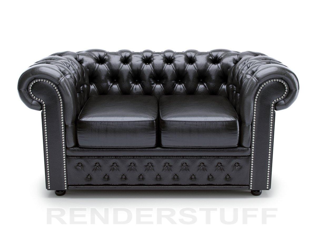 Черный двухместный кожаный диван Честер