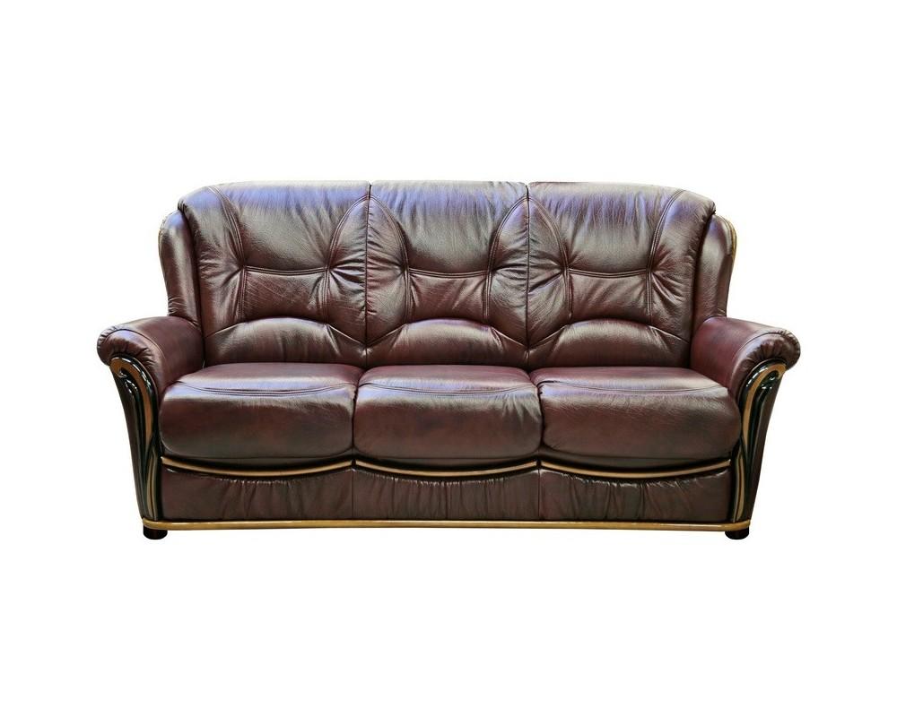 Кожаный диван с лакированным деревянным декором