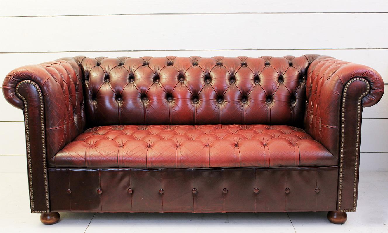Антикварный кожаный диван Честер