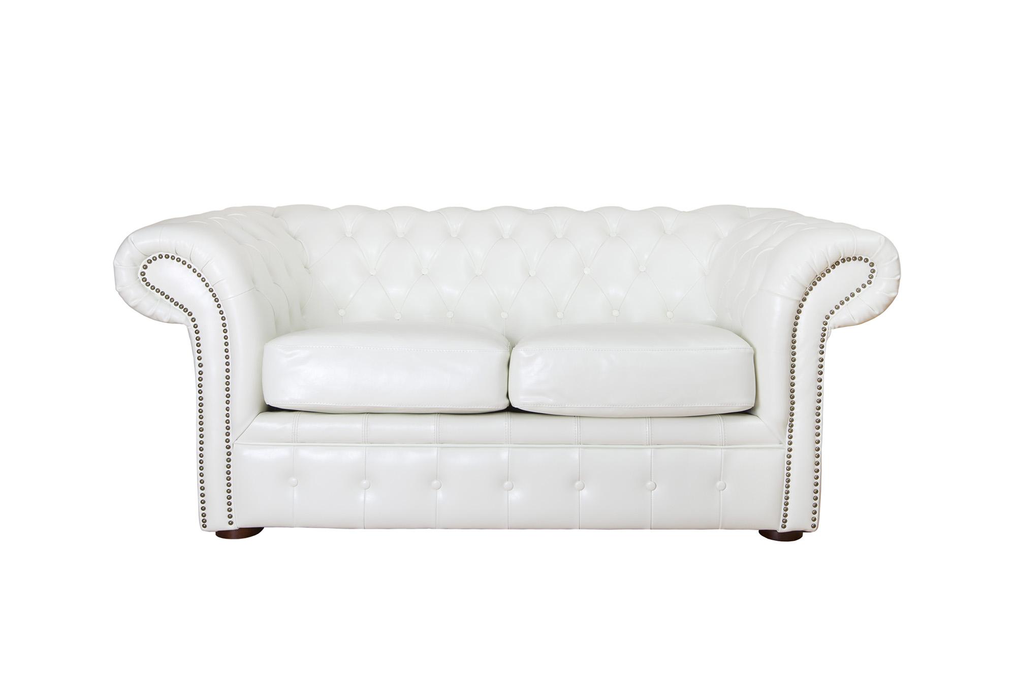 Белый стильный кожаный диван Честер