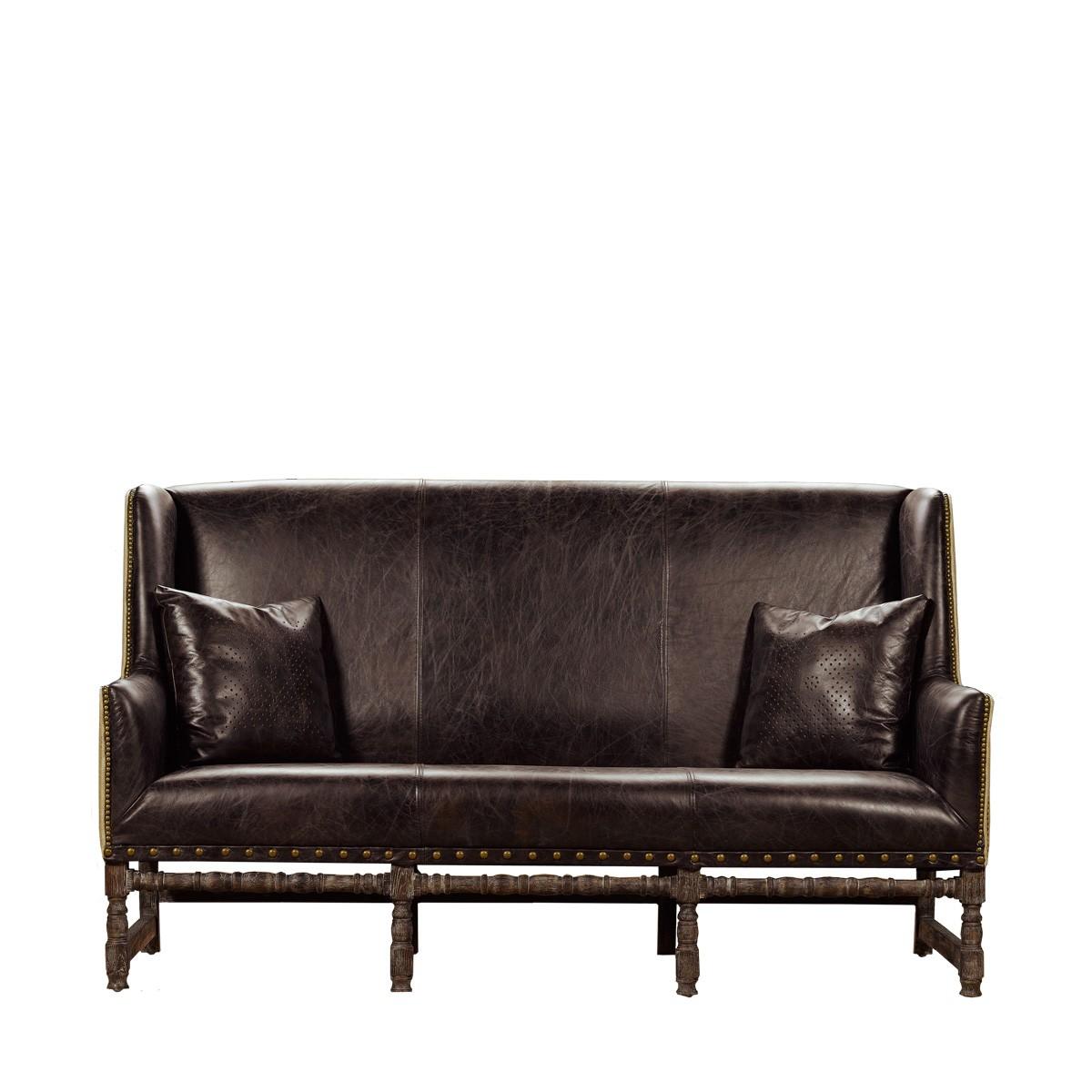 Черный кожаный диван на ножках