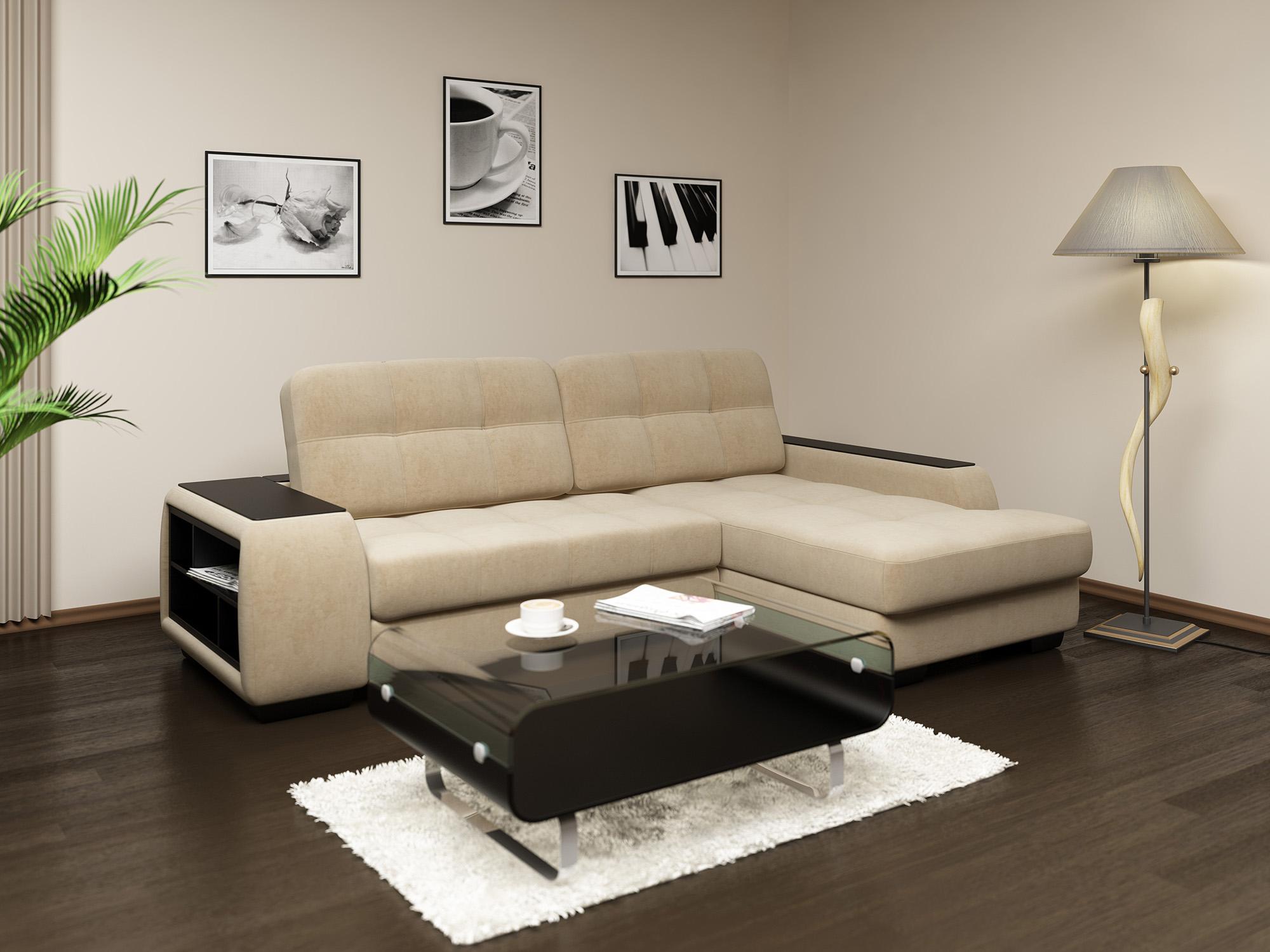 Бежево-черный кожаный диван