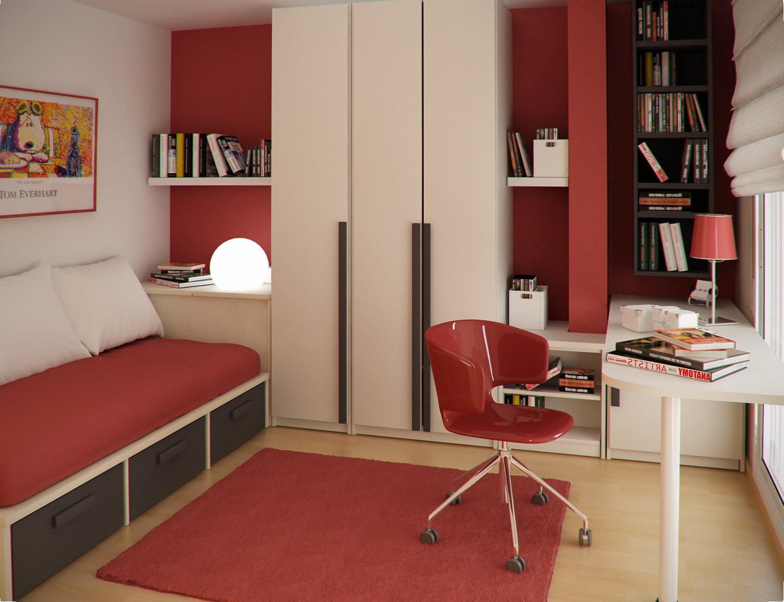 Учебный уголок в красном цвете в комнате школьника