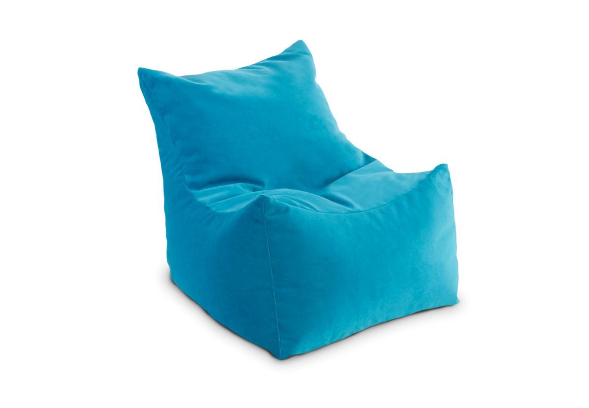 Яркое голубое бескаркасное кресло
