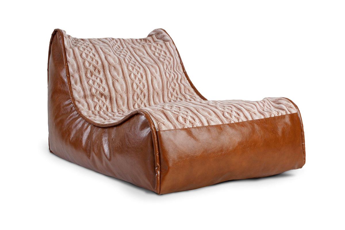 Бескаркасное кресло из искусственной кожи и ткани