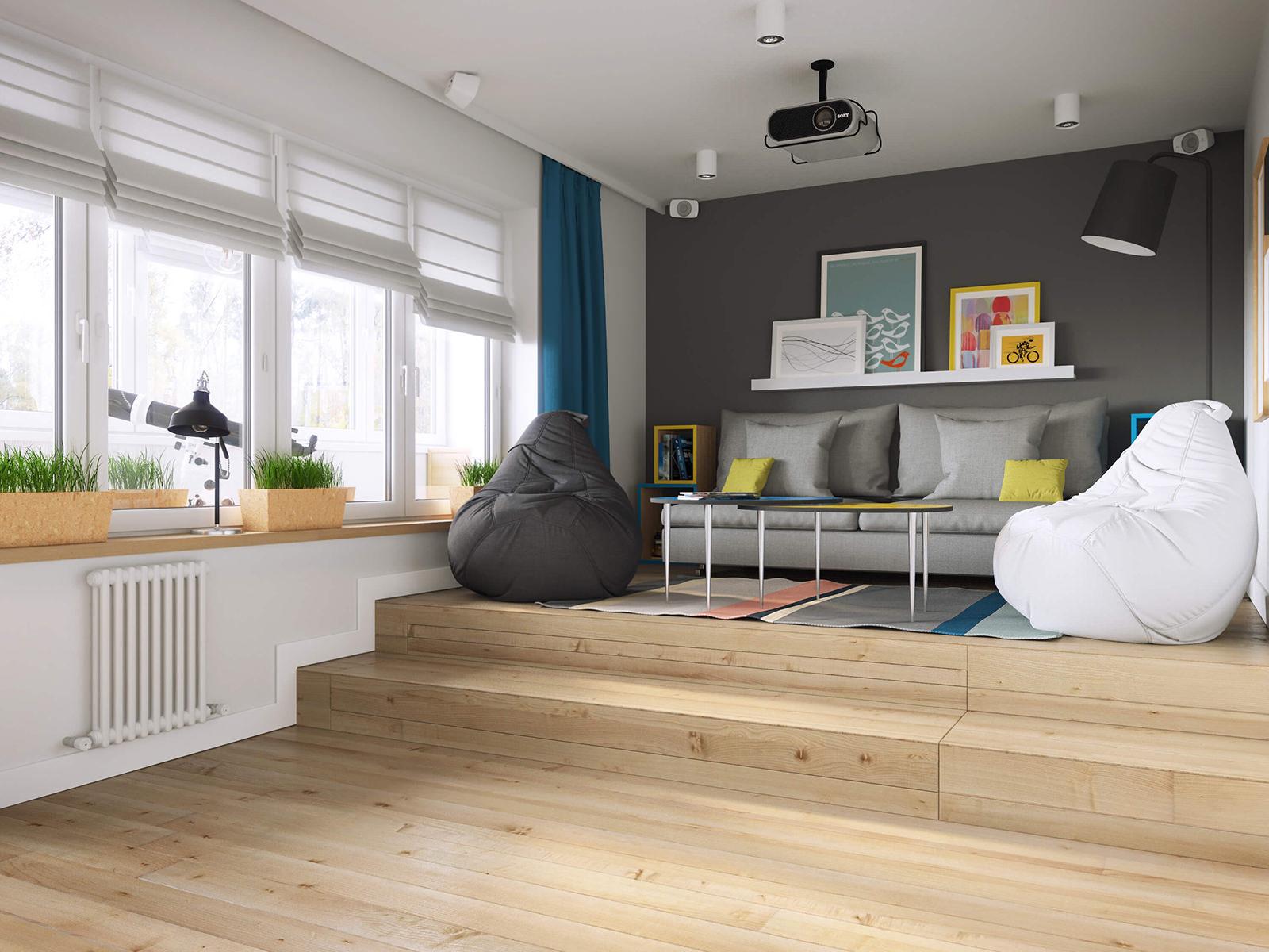 Кресла-мешки в гостиной с подиумом