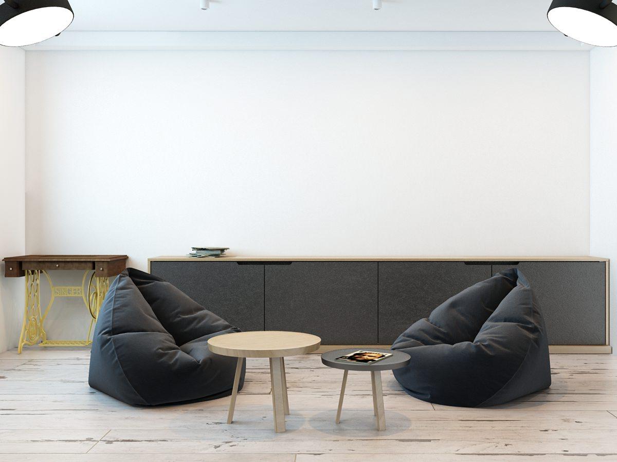 Черные кресла-мешки в гостиной