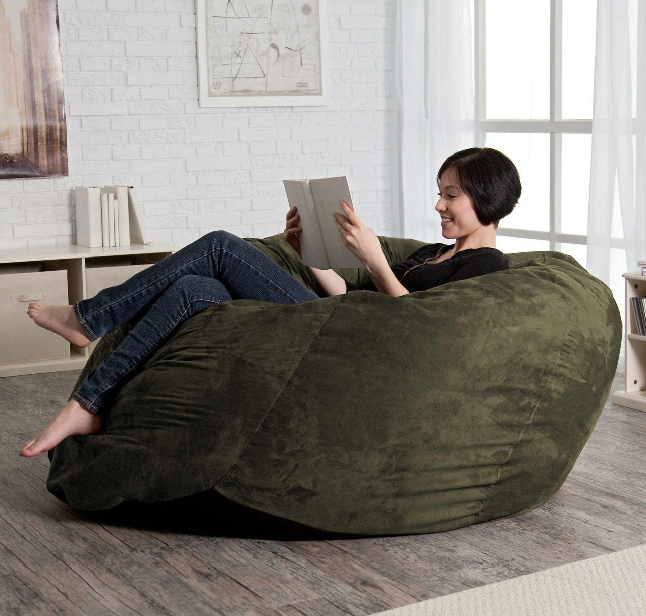 Темно-зеленое бескаркасное кресло