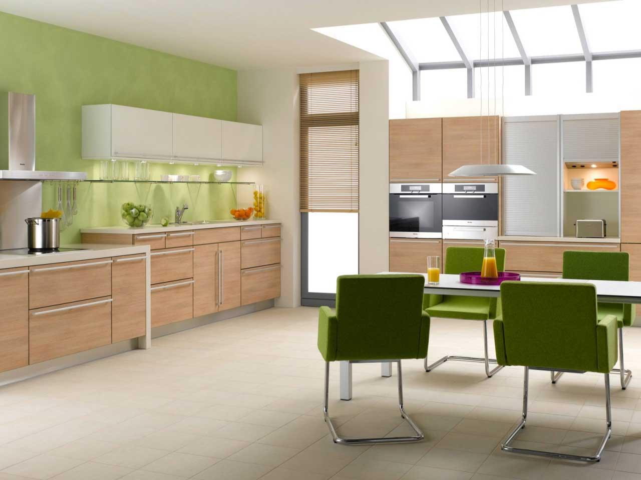 Бежево-зеленая кухня по фэн-шуй
