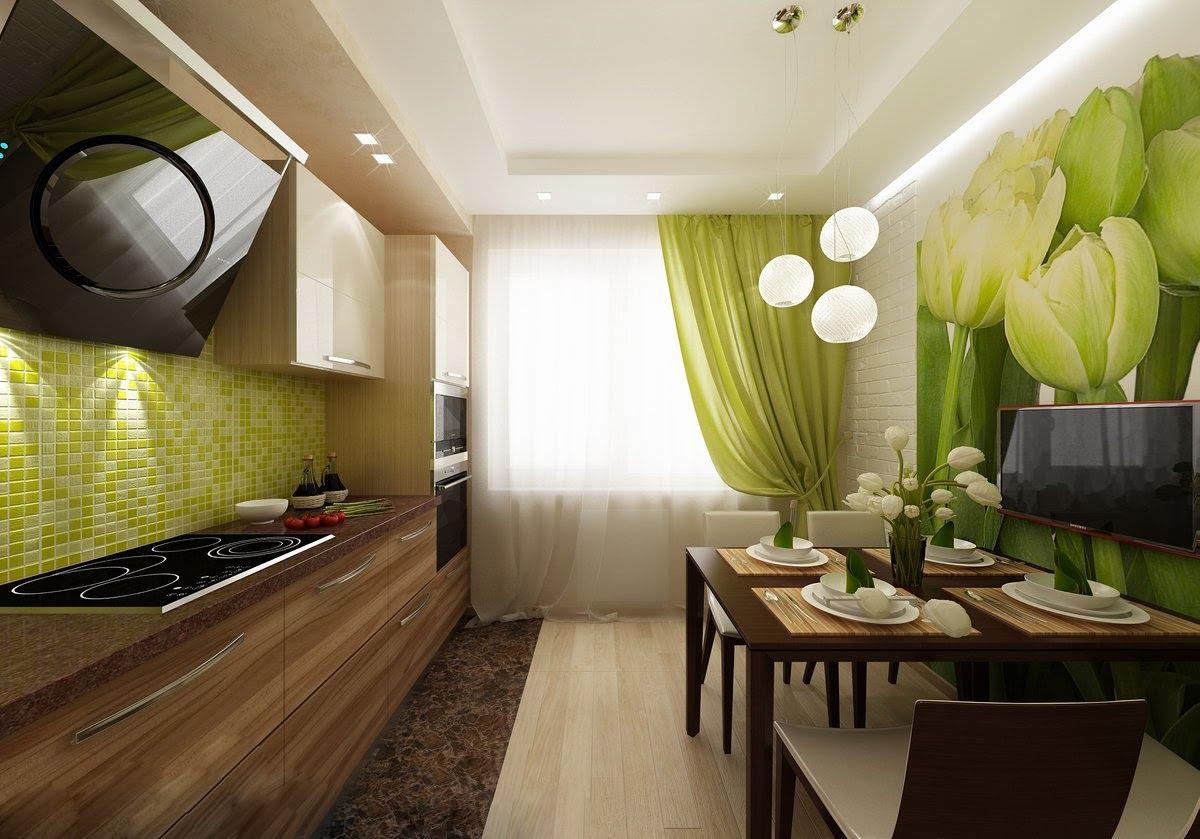 Салатовый, бежевый и коричневый цвета в интерьере кухни