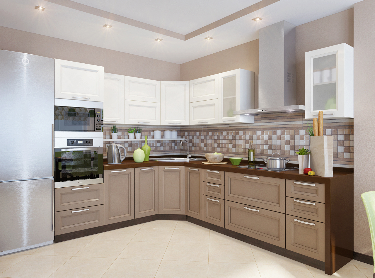 Коричнево-белый кухонный гарнитур