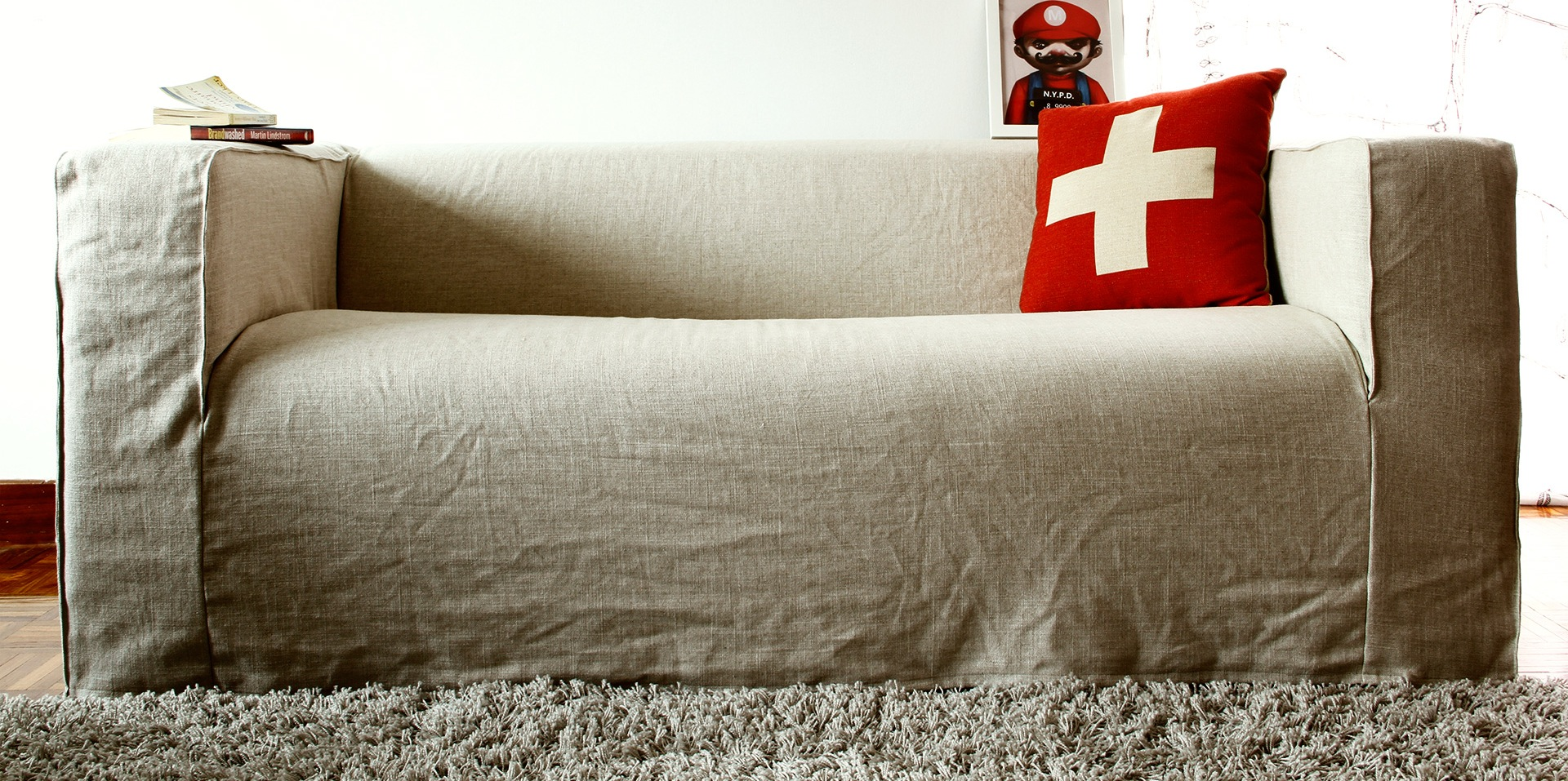 Чехол на диван из льна