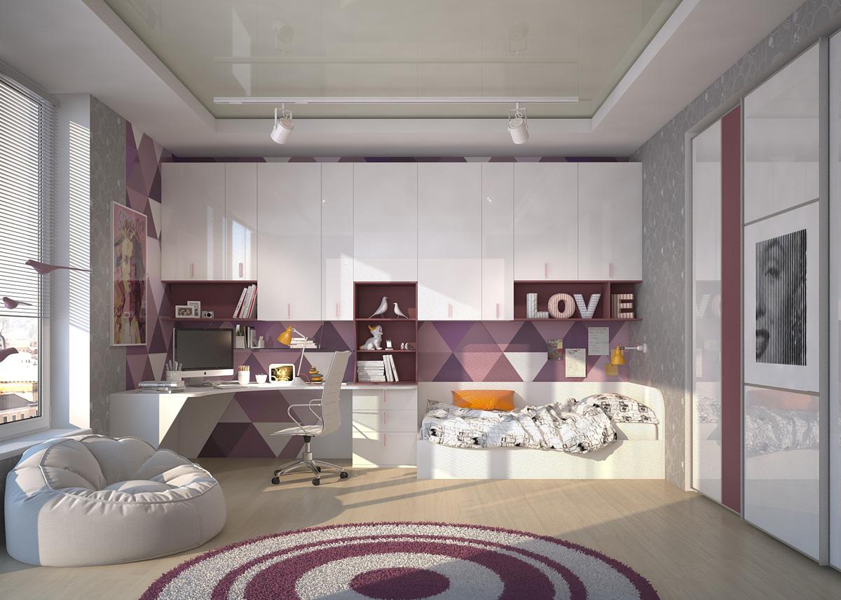 Красивая корпусная глянцевая мебель в комнате девочки подростка
