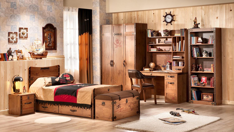 Модульная мебель в пиратском стиле в детской для мальчика
